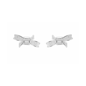 DELJCIA- MINI RIBBON BOW STUD EARRING, IMITATION RHODIUM/CRYSTAL