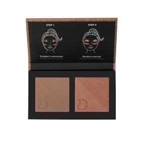 Duo Bronzer & Blushlight - Medium to Dark-aurinkopuuteri ja poskipuna